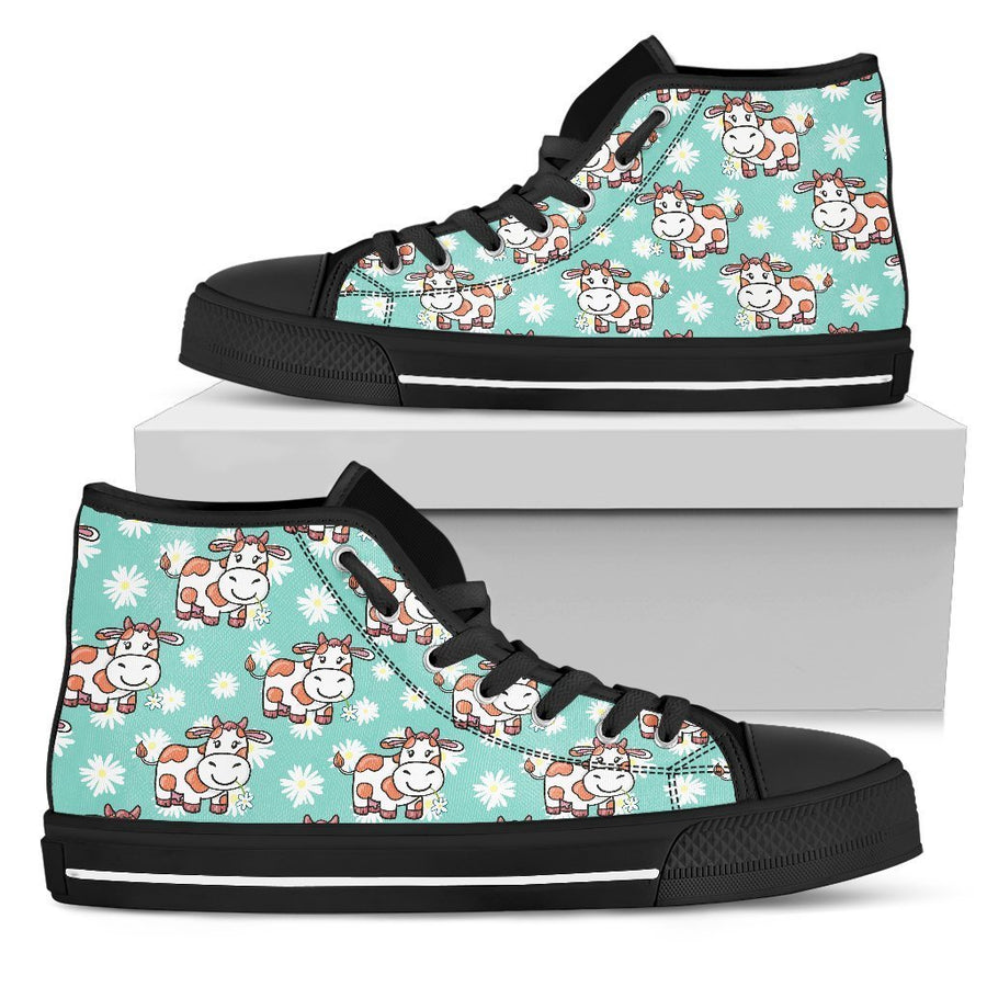 Cartoon Cow And Daisy Flower Print Men's High Top Shoes GearFrost