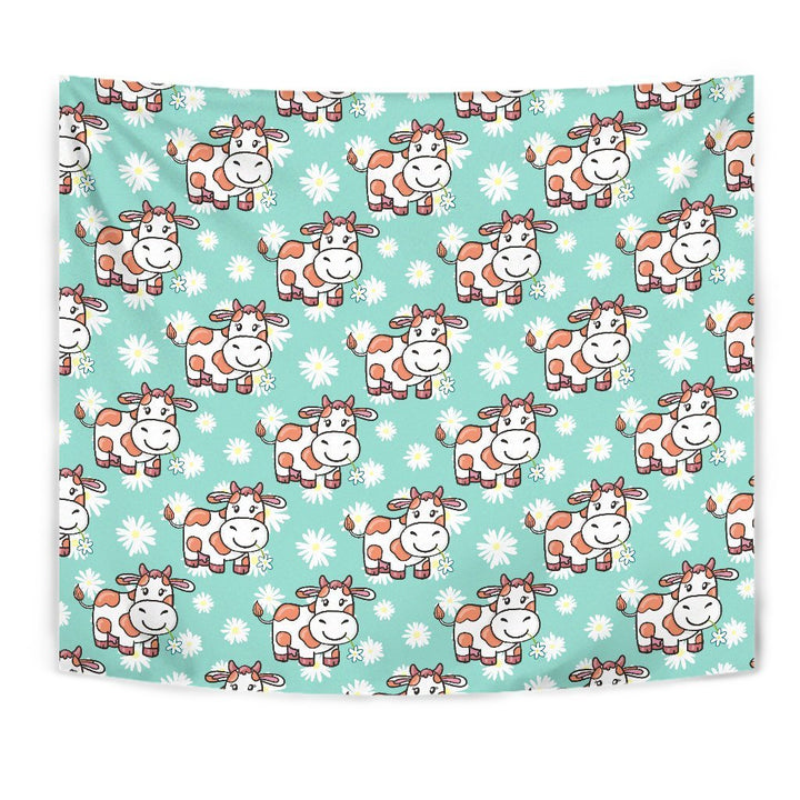 Cartoon Cow And Daisy Flower Print Wall Tapestry GearFrost