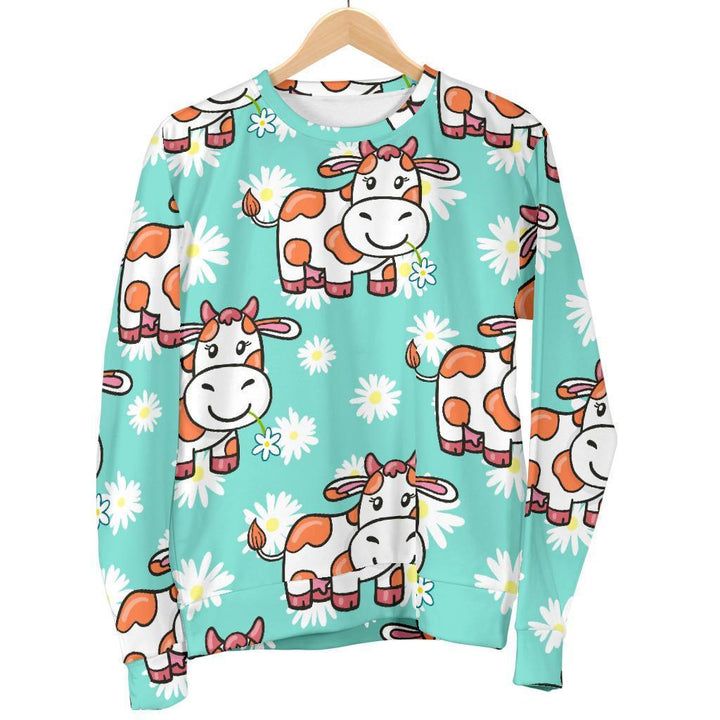 Cartoon Cow And Daisy Flower Print Women's Crewneck Sweatshirt GearFrost