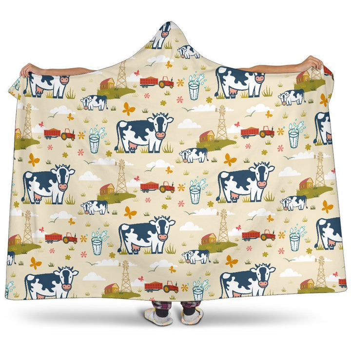 Cartoon Dairy Cow Farm Pattern Print Hooded Blanket GearFrost