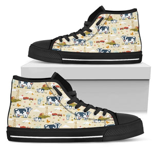Cartoon Dairy Cow Farm Pattern Print Men's High Top Shoes GearFrost