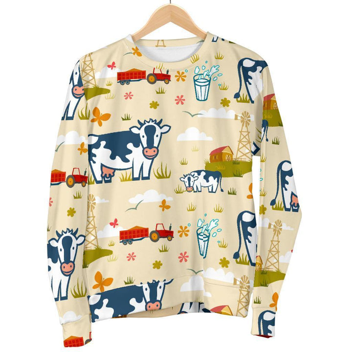 Cartoon Dairy Cow Farm Pattern Print Women's Crewneck Sweatshirt GearFrost