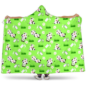 Cartoon Daisy And Cow Pattern Print Hooded Blanket GearFrost