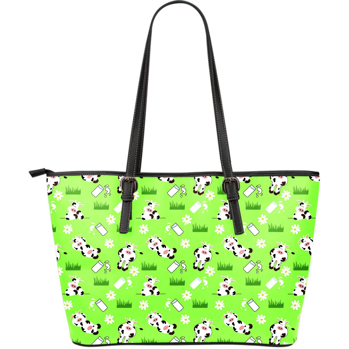 Cartoon Daisy And Cow Pattern Print Leather Tote Bag GearFrost