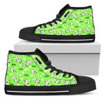 Cartoon Daisy And Cow Pattern Print Men's High Top Shoes GearFrost