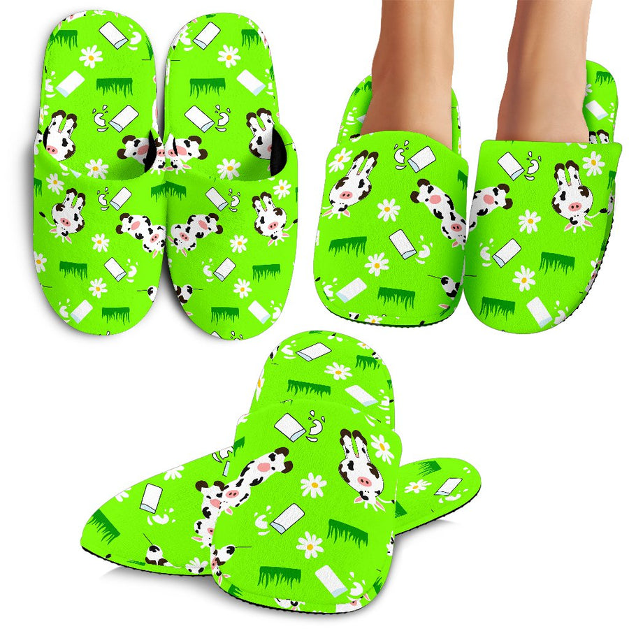Cartoon Daisy And Cow Pattern Print Slippers GearFrost