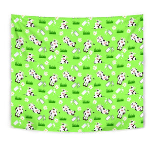 Cartoon Daisy And Cow Pattern Print Wall Tapestry GearFrost