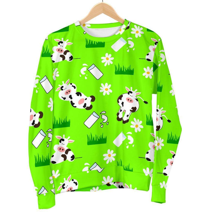 Cartoon Daisy And Cow Pattern Print Women's Crewneck Sweatshirt GearFrost