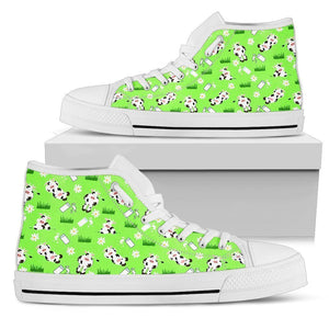 Cartoon Daisy And Cow Pattern Print Women's High Top Shoes GearFrost