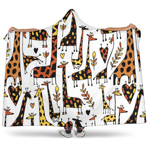 Cartoon Giraffe Pattern Print Hooded Blanket GearFrost