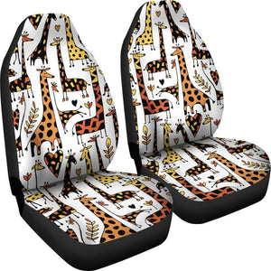 Cartoon Giraffe Pattern Print Universal Fit Car Seat Covers GearFrost