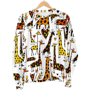 Cartoon Giraffe Pattern Print Women's Crewneck Sweatshirt GearFrost