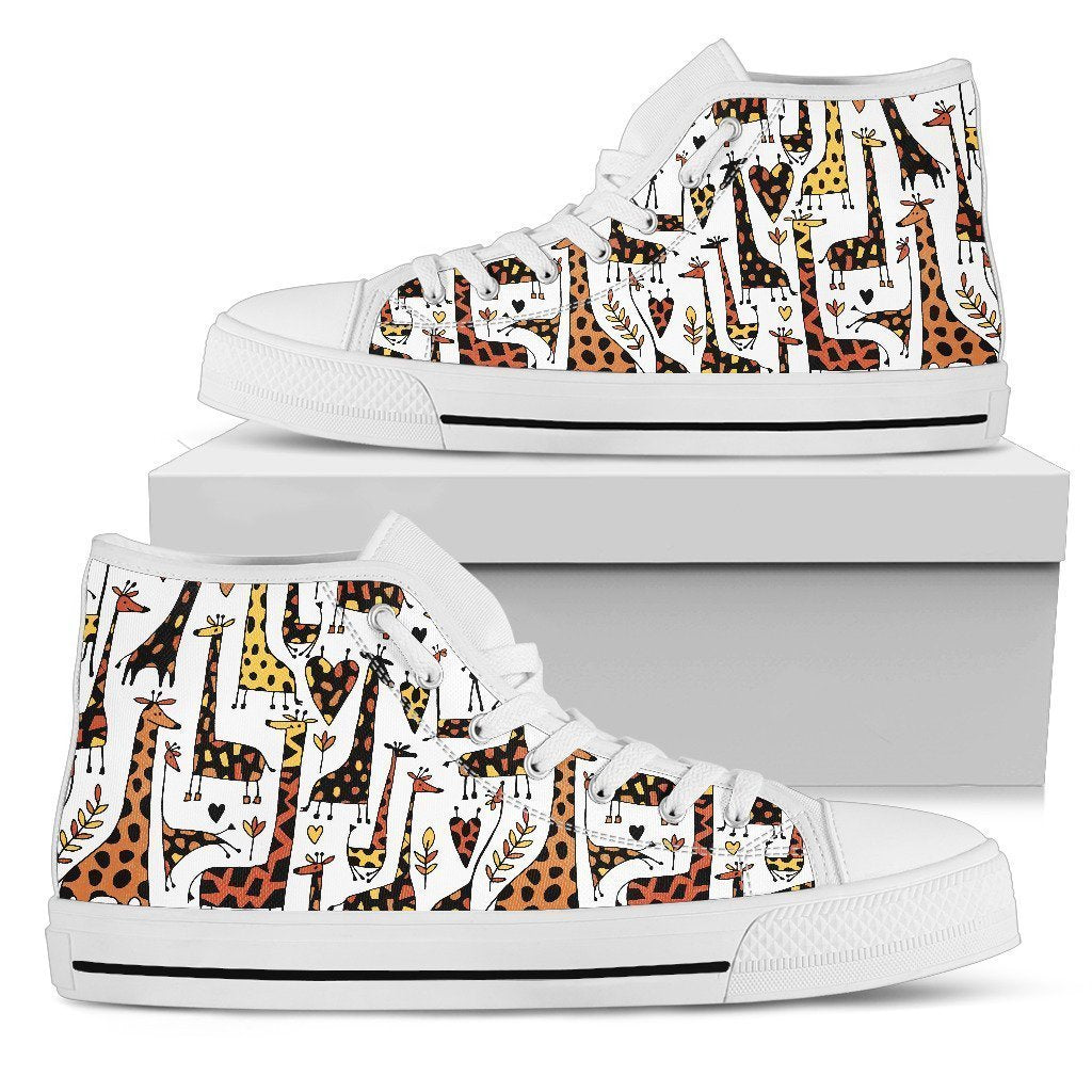 a1d1477a25 Cartoon Giraffe Pattern Print Women's High Top Shoes – GearFrost