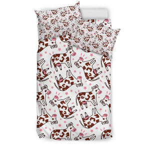 Cartoon Happy Dairy Cow Pattern Print Duvet Cover Bedding Set GearFrost