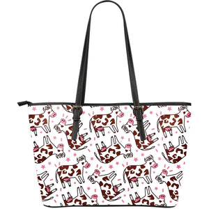 Cartoon Happy Dairy Cow Pattern Print Leather Tote Bag GearFrost