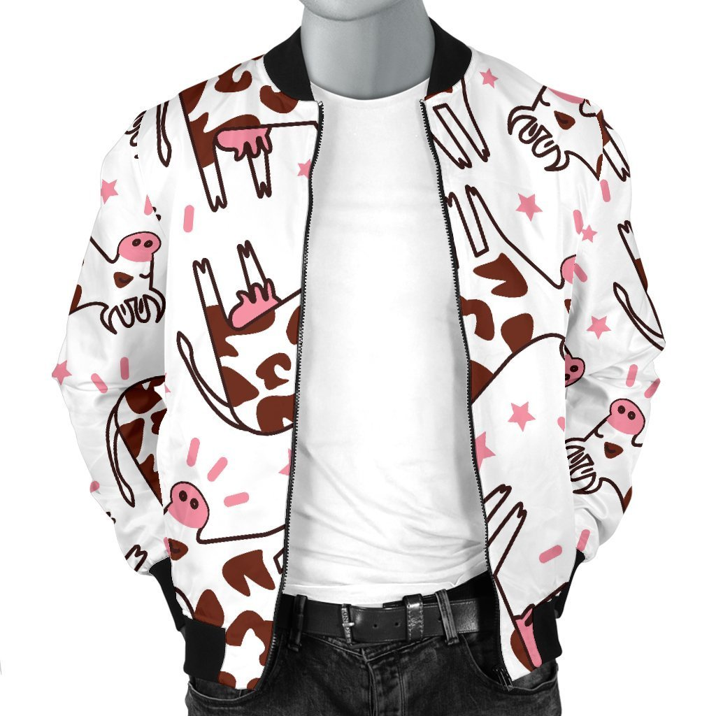 Cartoon Happy Dairy Cow Pattern Print Men's Bomber Jacket GearFrost