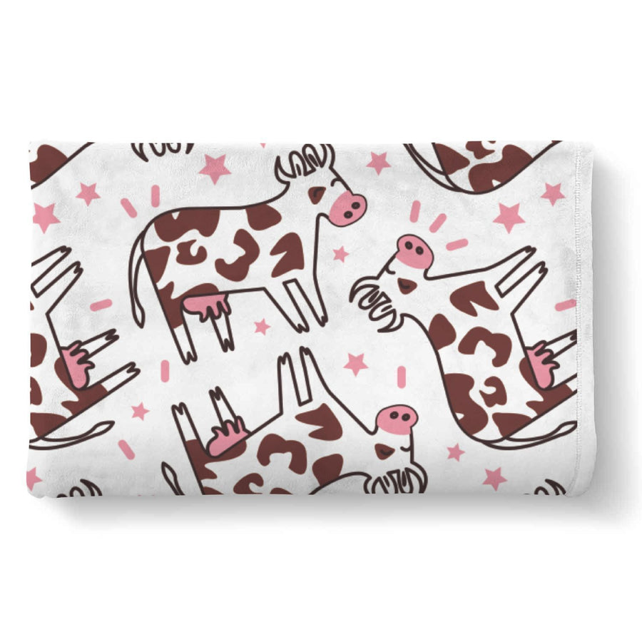 Cartoon Happy Dairy Cow Pattern Print Sherpa Blanket GearFrost