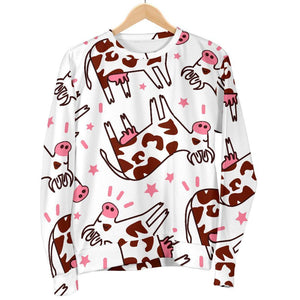 Cartoon Happy Dairy Cow Pattern Print Women's Crewneck Sweatshirt GearFrost