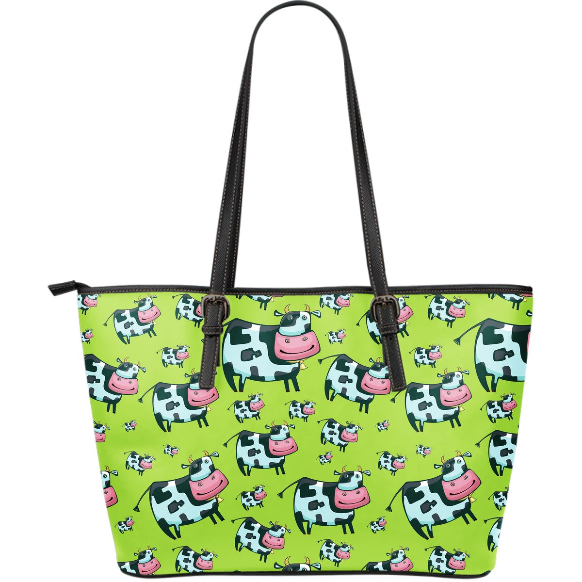 Cartoon Smiley Cow Pattern Print Leather Tote Bag GearFrost