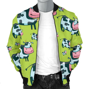 Cartoon Smiley Cow Pattern Print Men's Bomber Jacket GearFrost