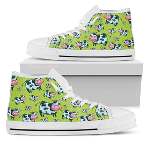 Cartoon Smiley Cow Pattern Print Men's High Top Shoes GearFrost