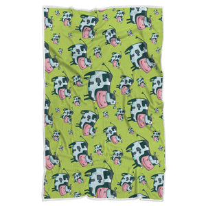 Cartoon Smiley Cow Pattern Print Sherpa Blanket GearFrost