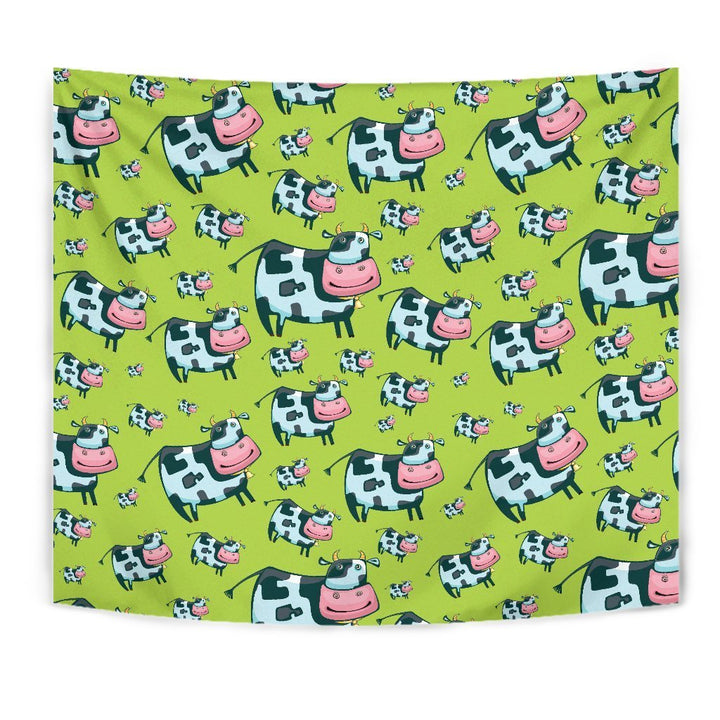 Cartoon Smiley Cow Pattern Print Wall Tapestry GearFrost