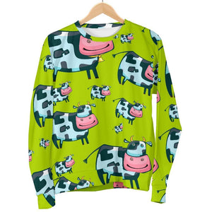 Cartoon Smiley Cow Pattern Print Women's Crewneck Sweatshirt GearFrost