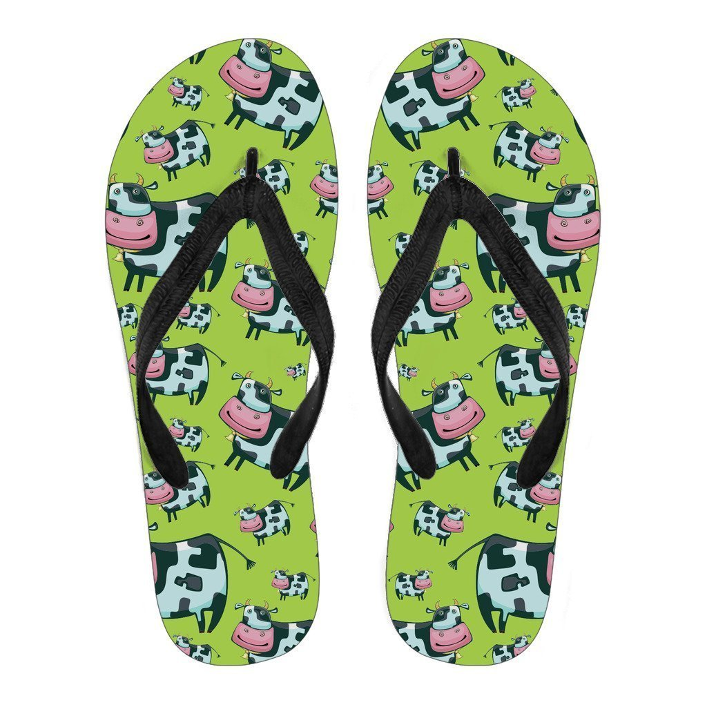 Cartoon Smiley Cow Pattern Print Women's Flip Flops GearFrost