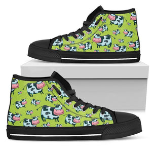 Cartoon Smiley Cow Pattern Print Women's High Top Shoes GearFrost