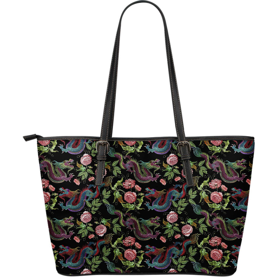 Chinese Dragon Flower Pattern Print Leather Tote Bag GearFrost