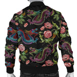 Chinese Dragon Flower Pattern Print Men's Bomber Jacket GearFrost