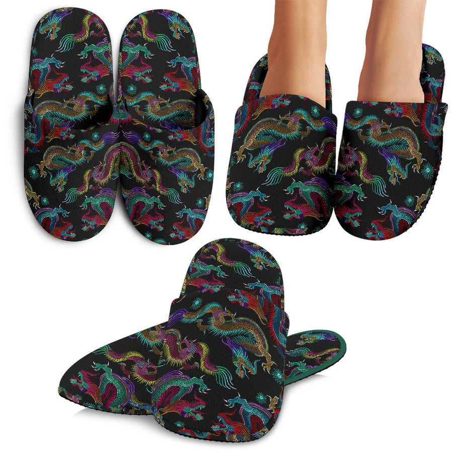 Chinese Dragon Pattern Print Slippers GearFrost