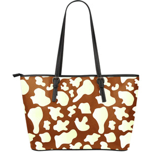 Chocolate And Milk Cow Print Leather Tote Bag GearFrost