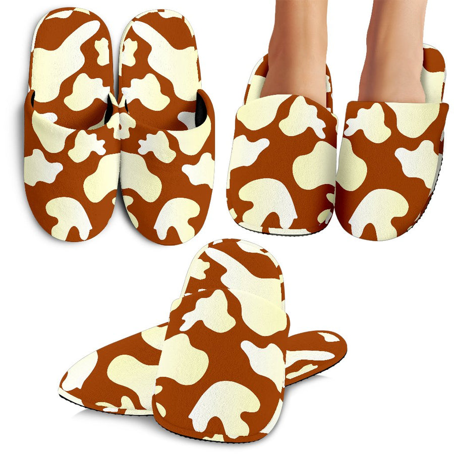 Chocolate And Milk Cow Print Slippers GearFrost