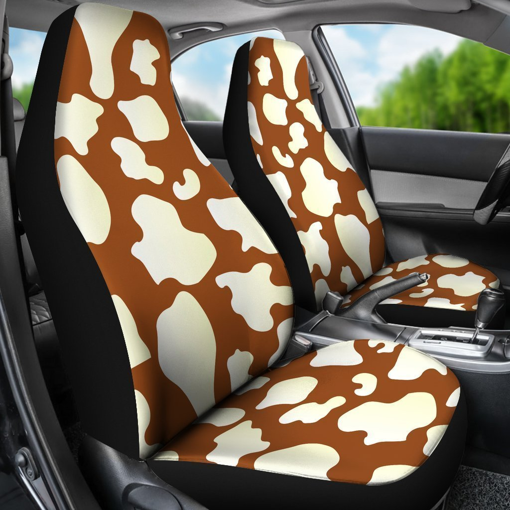 Chocolate And Milk Cow Print Universal Fit Car Seat Covers GearFrost