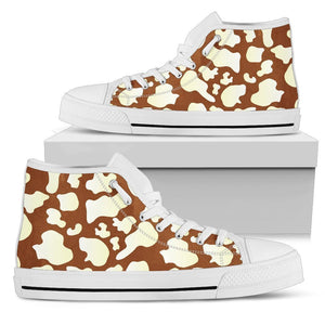 Chocolate And Milk Cow Print Women's High Top Shoes GearFrost