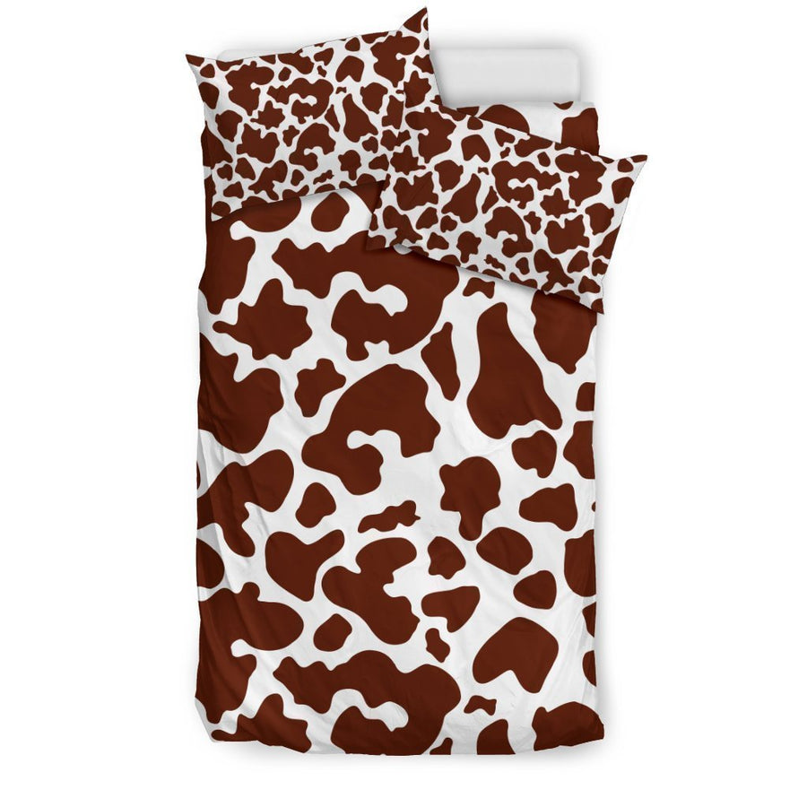Chocolate Brown And White Cow Print Duvet Cover Bedding Set GearFrost