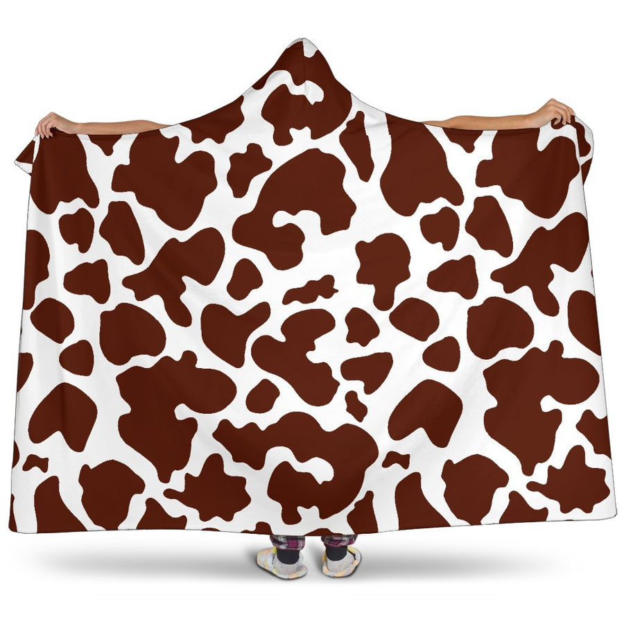 Chocolate Brown And White Cow Print Hooded Blanket GearFrost