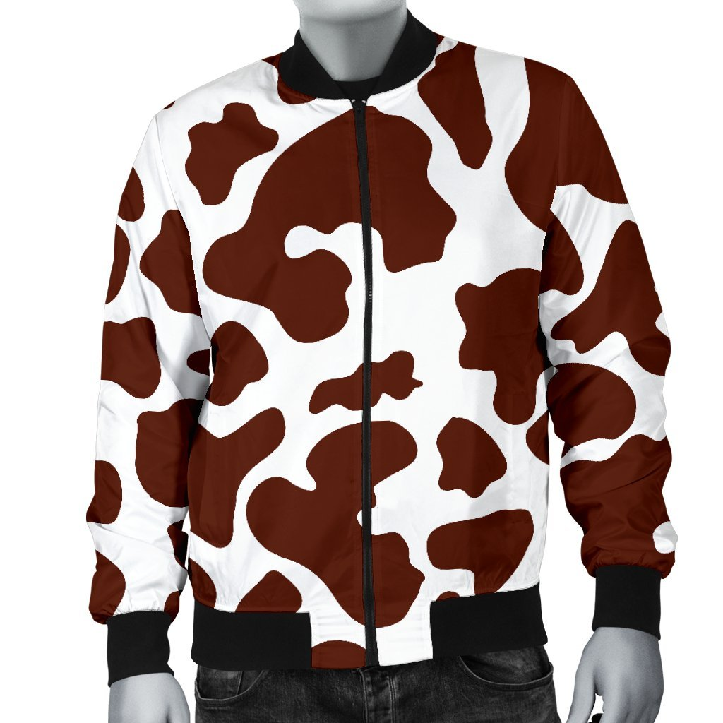 Chocolate Brown And White Cow Print Men's Bomber Jacket GearFrost