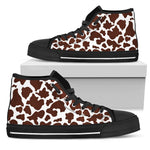 Chocolate Brown And White Cow Print Men's High Top Shoes GearFrost