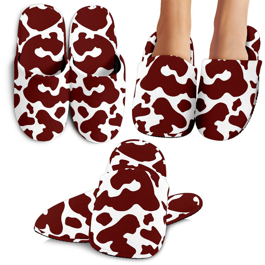 Chocolate Brown And White Cow Print Slippers GearFrost
