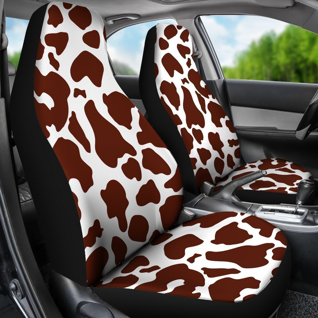 Chocolate Brown And White Cow Print Universal Fit Car Seat Covers GearFrost