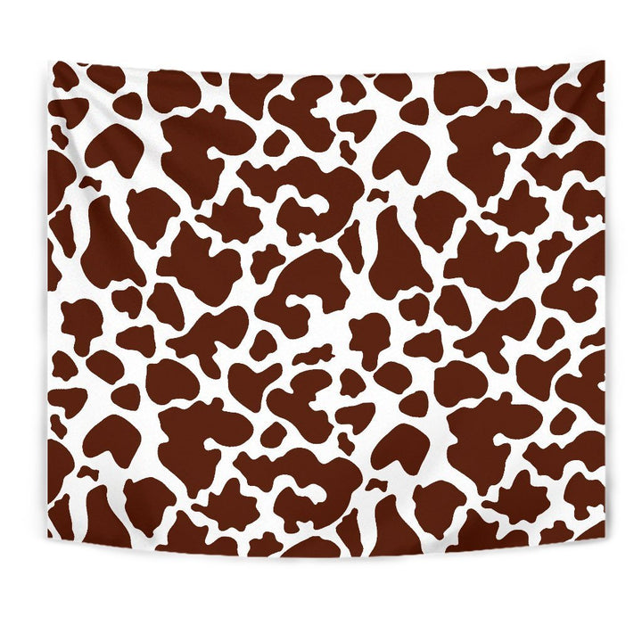 Chocolate Brown And White Cow Print Wall Tapestry GearFrost