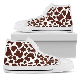 Chocolate Brown And White Cow Print Women's High Top Shoes GearFrost
