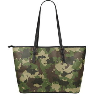 Classic Green Camouflage Print Leather Tote Bag GearFrost