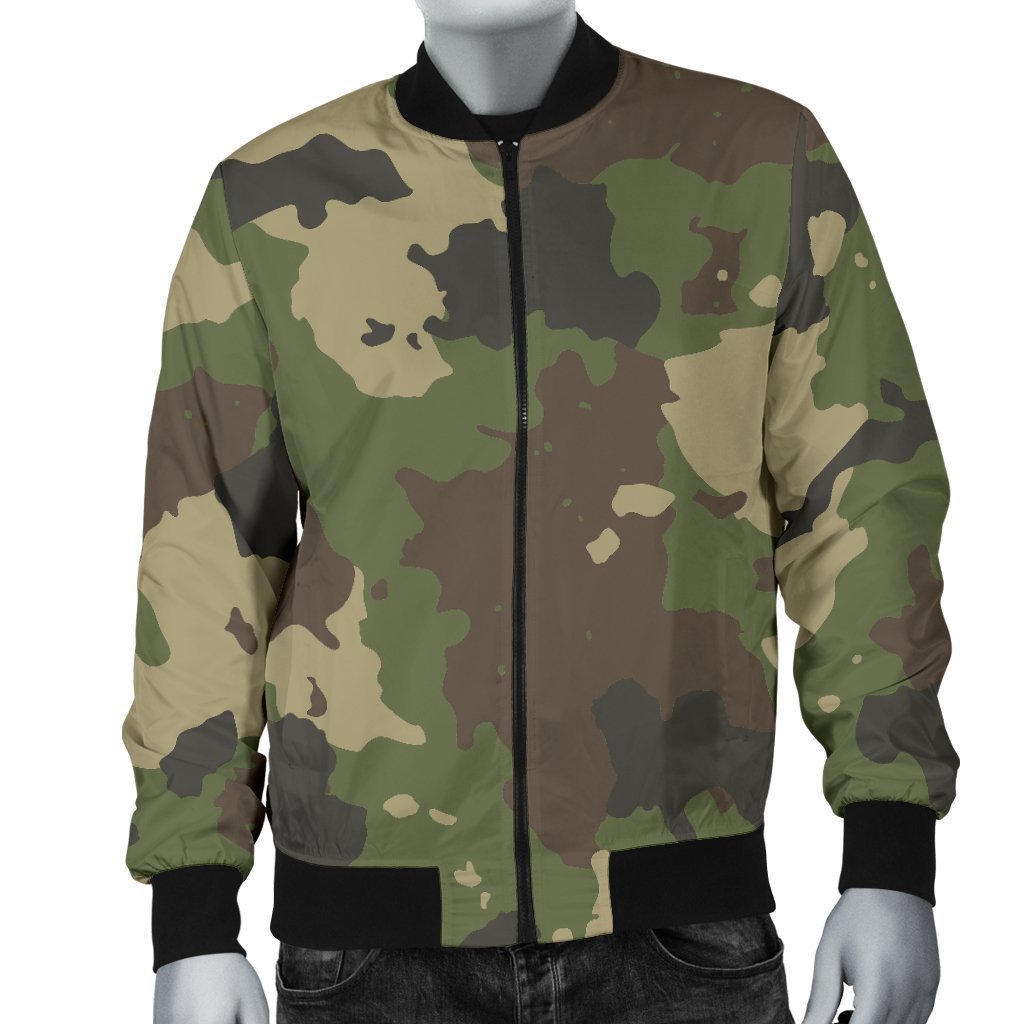 Classic Green Camouflage Print Men's Bomber Jacket GearFrost