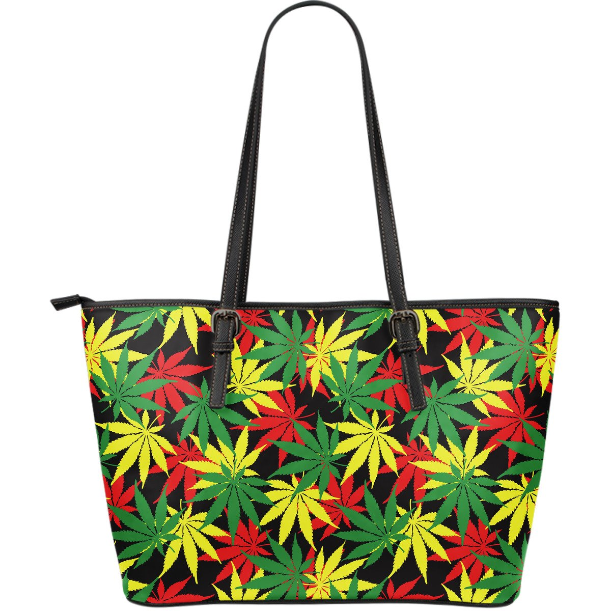 Classic Hemp Leaves Reggae Pattern Print Leather Tote Bag GearFrost