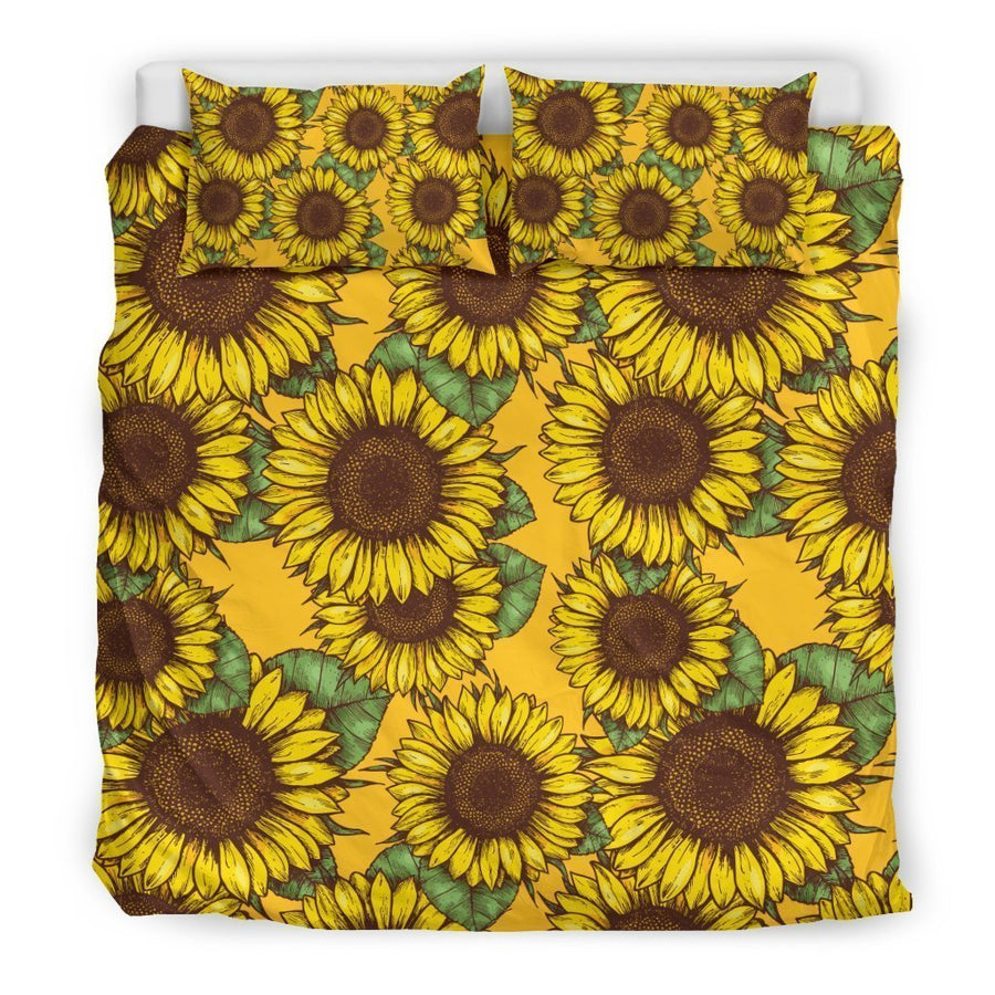 Classic Vintage Sunflower Pattern Print Duvet Cover Bedding Set GearFrost