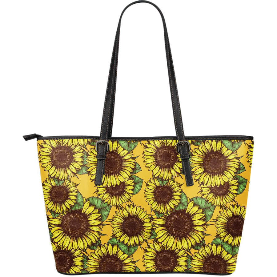 Classic Vintage Sunflower Pattern Print Leather Tote Bag GearFrost